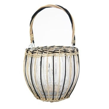 Ronnie Glass And Bamboo Lantern - Natural & Black 24x23cmh
