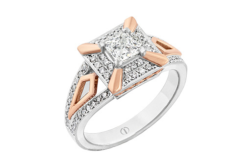 rose and white gold princess cut diamond cluster ring