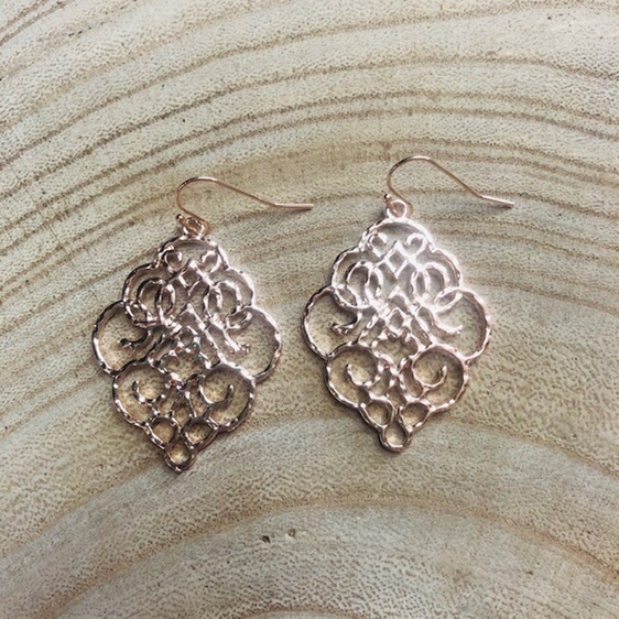 Rose Gold Filagree Earrings