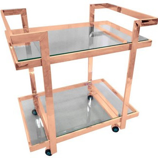 Rose Gold / Glass Drinks Trolley