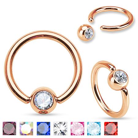Rose Gold IP Gem Set Ball Captive Rings