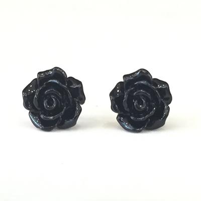 Rose Studs - Black