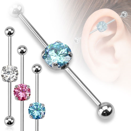 Round CZ Industrial Barbell