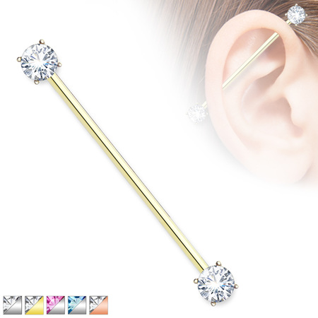 Round CZ Prong Set Ends Industrial Barbells