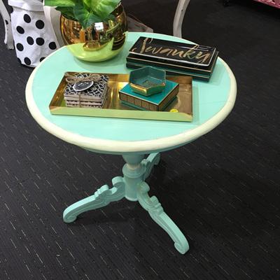 Round Pedi Table - Aqua