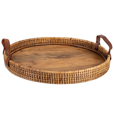 Round Rattan Tray - Wooden Base