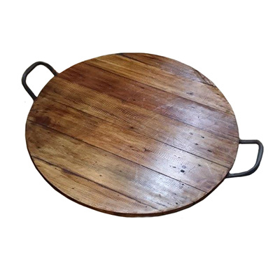 Round Tray w Metal Handles - 52cm