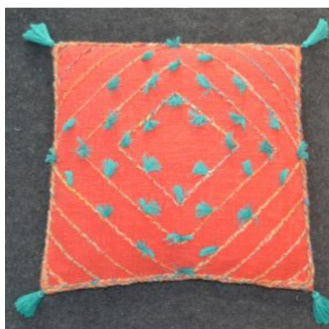 Ruby Cushion - Red & Turquoise