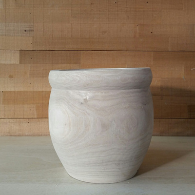 Rudy Carved Wood Planter - Natural - 19.5cmh