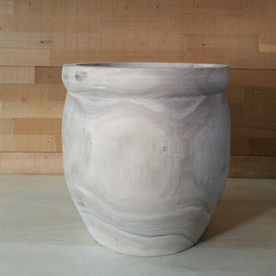 Rudy Carved Wood Planter - Natural - 26cmh