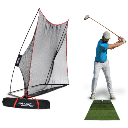 Rukket Hack Golf Net with Tri-Turf Mat
