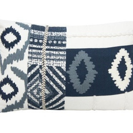Rulis Cushion - Blue & White - 35 x 55cm