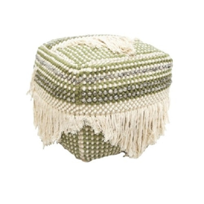 Saar Square Pouf - Green & Natural 40 x 40cm