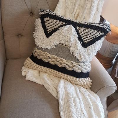 Saba Cushion - Black, Grey & White
