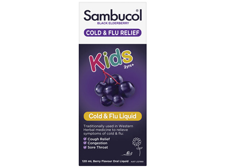 Sambucol Black Elderberry Cold & Flu Relief Kids Liquid 120ml