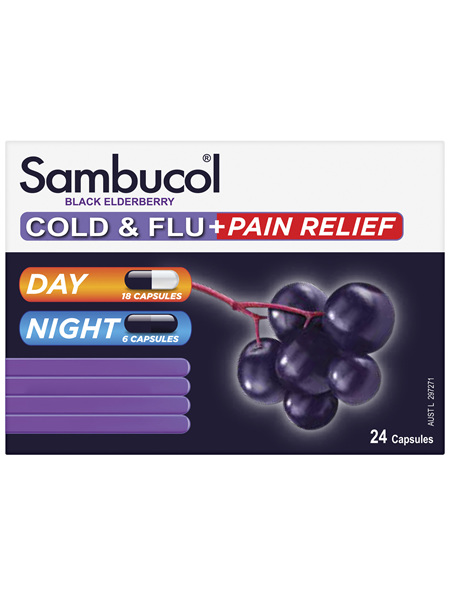 Sambucol Cold & Flu + Pain Relief 24 Capsules