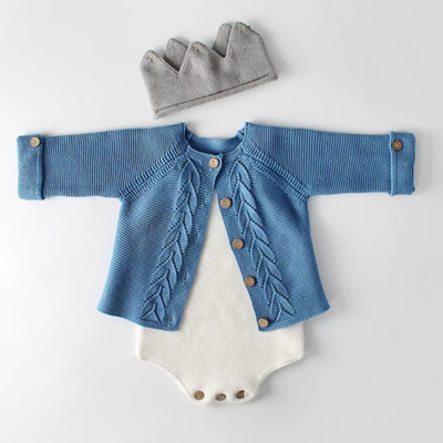 SAMPLE - Knitted Cardigan w/ Natural Wood Buttons - Blue