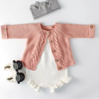 SAMPLE Knitted Cardigan w/ Natural Wood Buttons - Peachy Pink