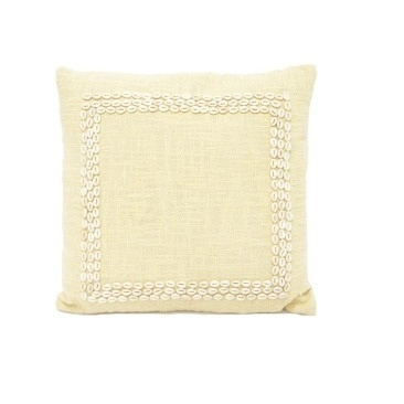 Sara Slub Cotton W Shell Boarder - Taupe 50x50cm