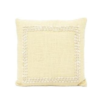 Sara Slub Cotton W Shell Boarder - Taupe 50x50cm