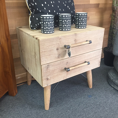 Scandi Two Drawer Bedside Table