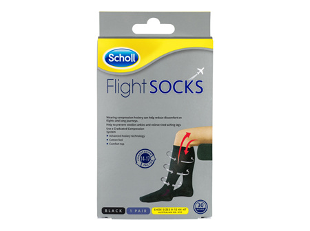 Scholl Flight Socks Compression Hosiery Black M9-12
