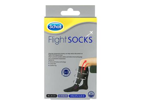 Scholl Flight Socks Compression Hosiery Black W6-8 M3-6