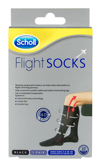 Scholl Flight Socks Compression Hosiery Black W6-8 M3-6