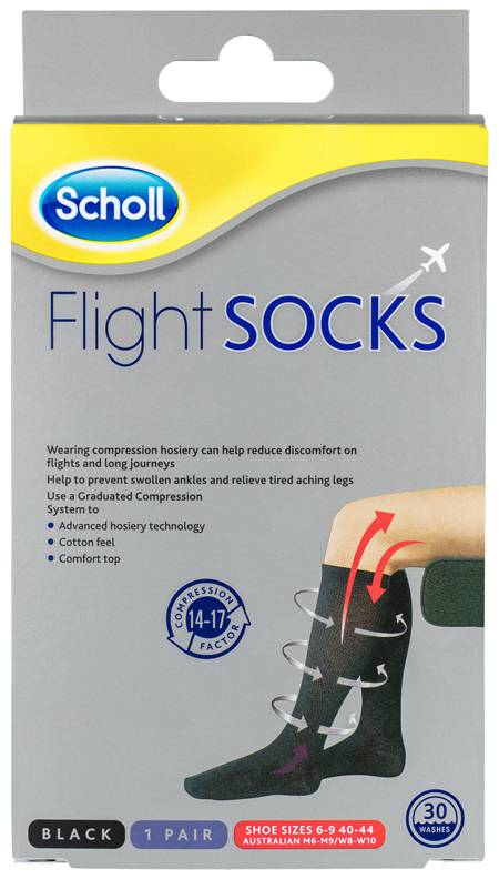 Scholl Flight Socks Compression Hosiery Black W8-11 M6-9