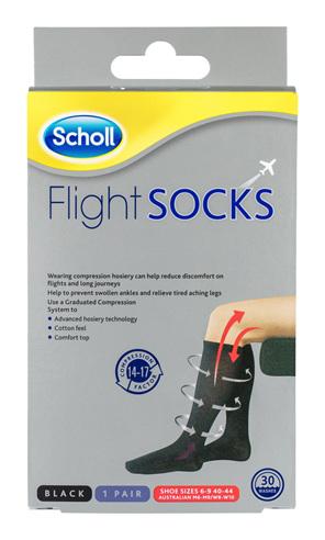 Scholl Flight Socks Compression Hosiery Black W8-11 M6-9