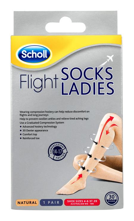 Scholl Flight Socks Compression Hosiery Ladies Natural 6-8