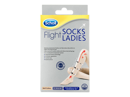 Scholl Flight Socks Compression Hosiery Ladies Natural 4-6