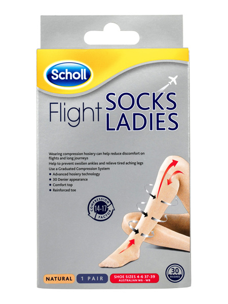 Scholl Flight Socks Compression Hosiery Ladies Natural 6-8