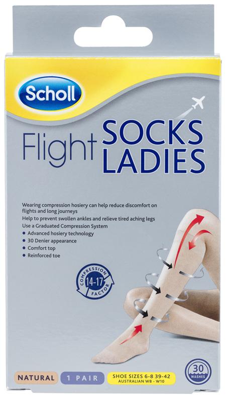 Scholl Flight Socks Compression Hosiery Ladies Natural 8-10