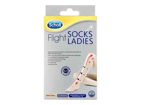 Scholl Flight Socks Compression Hosiery Ladies Natural 4-6