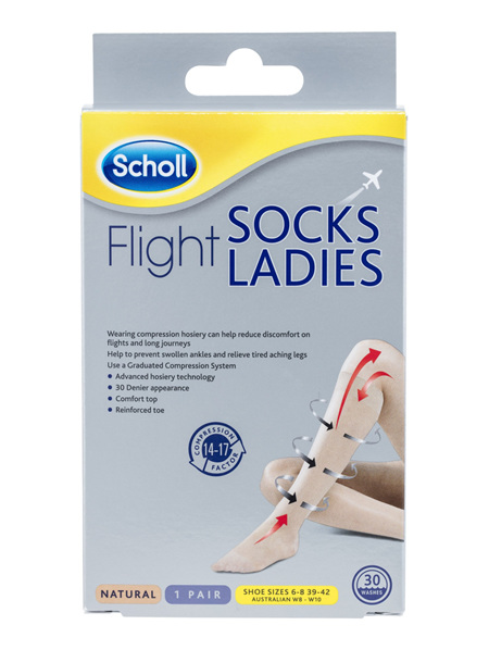 Scholl Flight Socks Compression Hosiery Ladies Natural 8-10