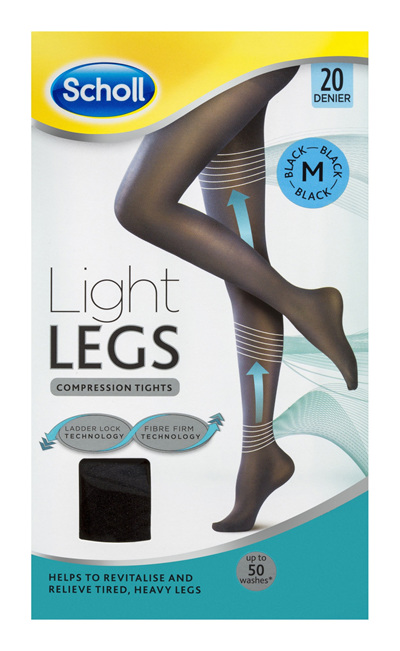 Scholl Light Legs Compression Tights 20 Denier for Tired Legs Black Medium