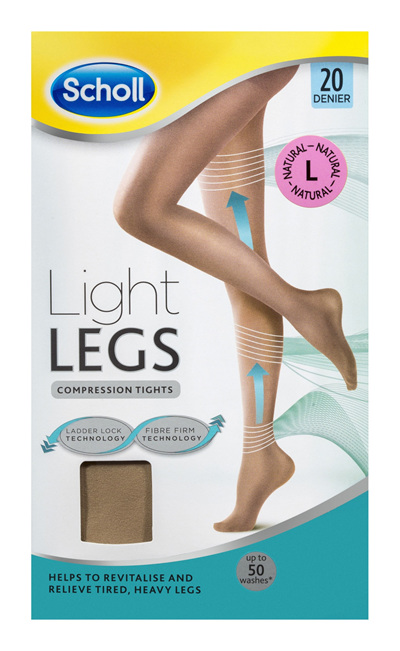 Scholl Light Legs Compression Tights 20 Denier for Tired Legs Natural Large