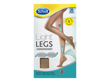 Scholl Light Legs Compression Tights 20 Denier for Tired Legs Natural Small