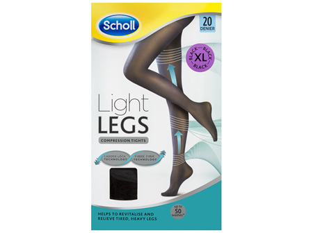 Scholl Light Legs Compression Tights 20 Denier for Tired Legs Black Extra Large