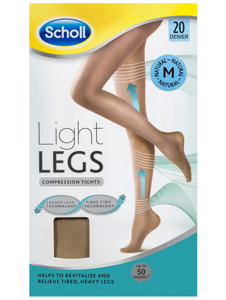 Scholl Light Legs Compression Tights 20 Denier for Tired Legs Natural Medium