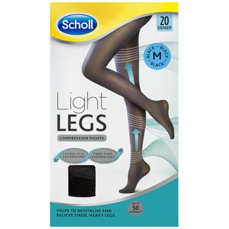 Scholl Light Legs Compression Tights 20 Denier for Tired Legs Black Medium