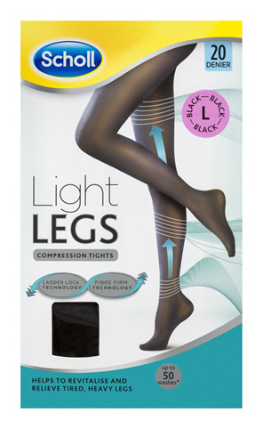 Scholl Light Legs Compression Tights 20 Denier for Tired Legs Black Large