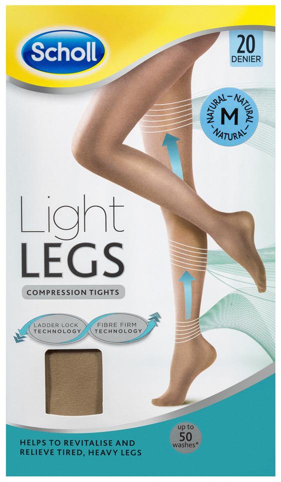 Scholl Light Legs Compression Tights 20 Denier for Tired Legs Natural Medium