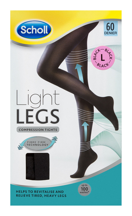 Scholl Light Legs Compression Tights 60 Denier for Tired Legs Black Large