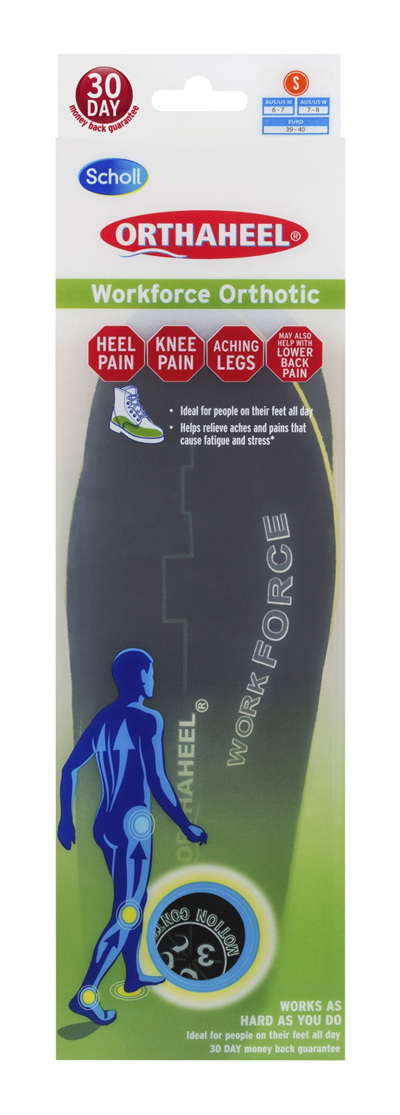 Scholl Orthaheel Orthotic Insole Pain Relief and Support Work Small