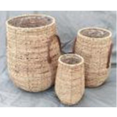 Scooter Woven Basket Planters- Plastic Lined - Small