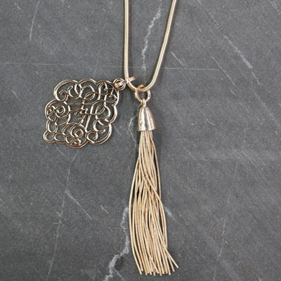 Scroll Tassel Necklace - Gold