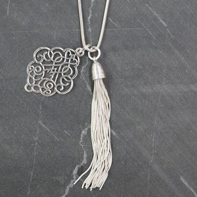 Scroll Tassel Necklace - Silver