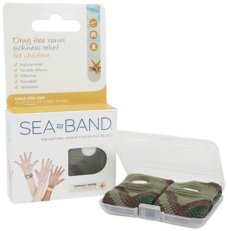 Sea-Band Childs Anti-Nausea Wrist Band Blue Camo